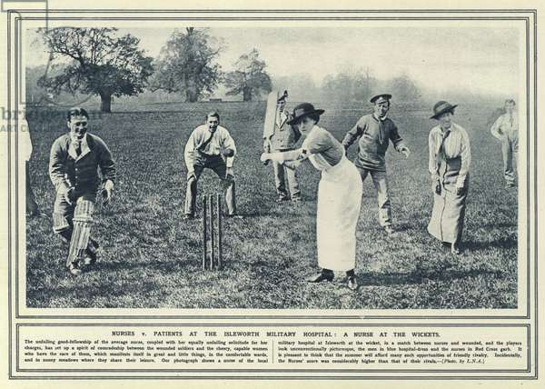 Nurses v patients at the Isleworth Military Hospital, a nurse at the wickets (b/w photo)