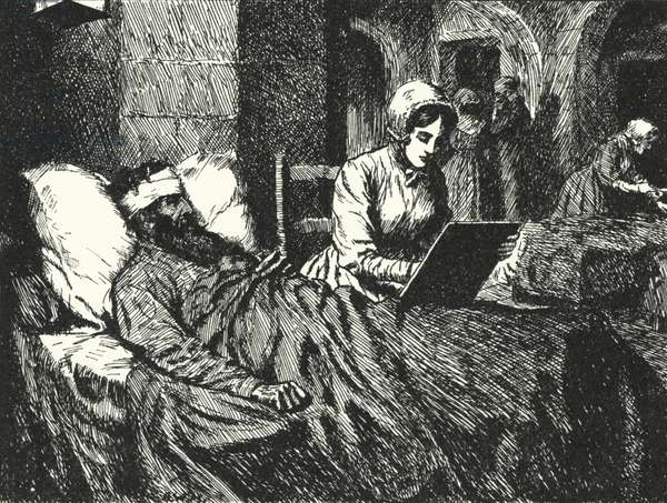 English nurse Florence Nightingale writing a letter for a soldier wounded in the Crimean War at the hospital of Scutari, 1855 (litho)