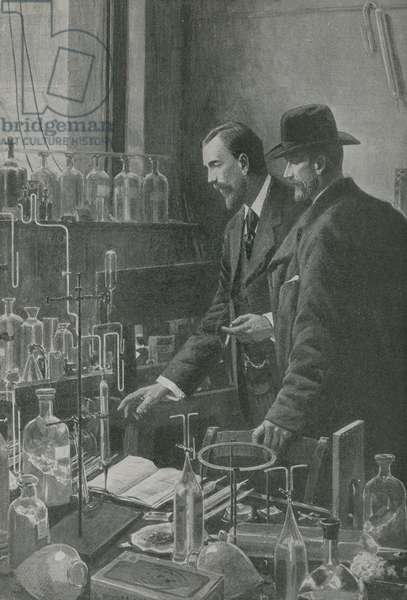 Two great experts in science confer (litho)