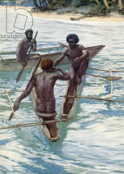 Pacific Islanders in their canoes (colour litho)