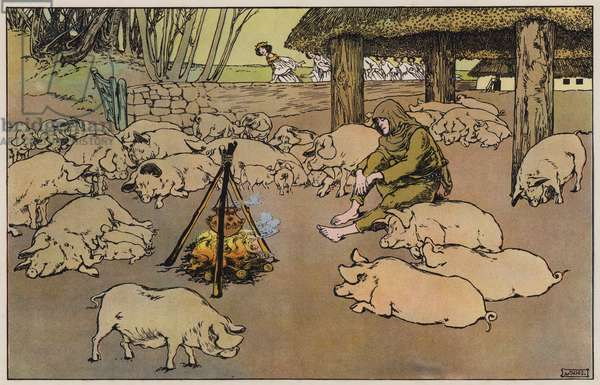 The Swineherd (colour litho)