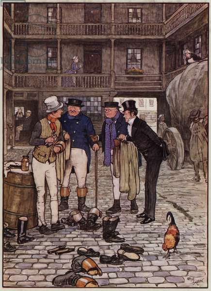 Illustration for The Pickwick Papers by Cecil Aldin (colour litho)
