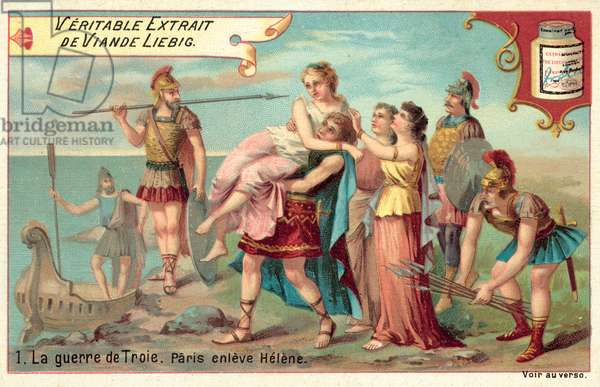 Paris carries off Helen (chromolitho)