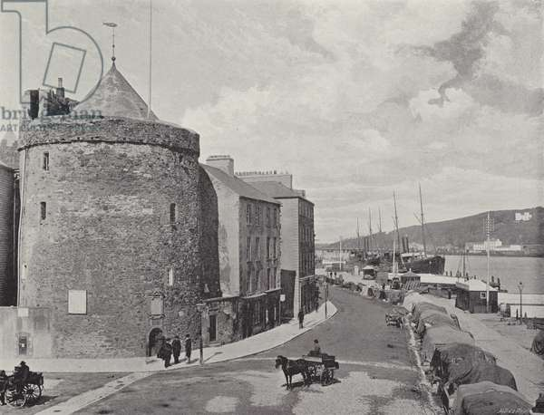 Reginald's Tower and the Quay, Waterford (b/w photo)