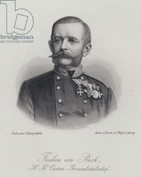 Friedrich von Beck-Rzikowsky, Austrian general (engraving)