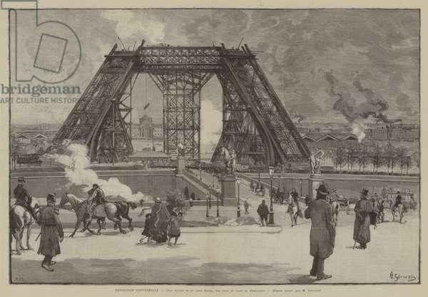 Exposition Universelle, Etat actuel de la tour Eiffel, vue prise du parc du Trocadero (engraving)