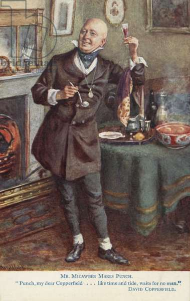 Mr Micawber makes punch, scene from Charles Dickens' novel David Copperfield (colour litho)