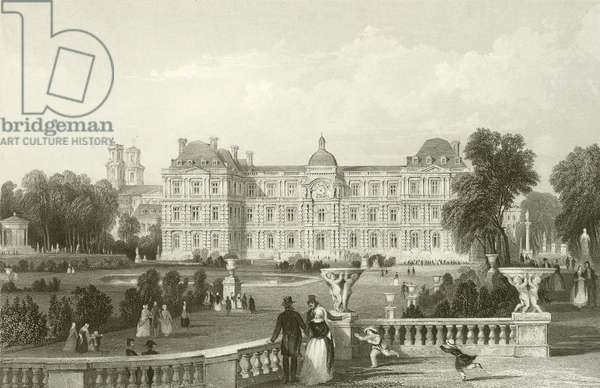 Garden - Front of the Luxembourg - Paris (engraving)