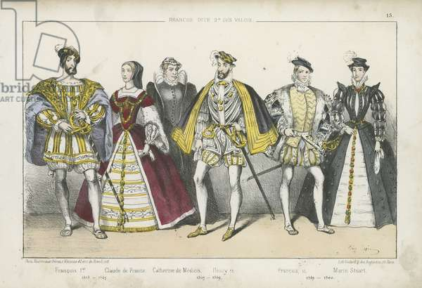 French kings and queens of the 16th Century (coloured engraving)