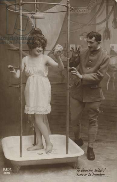 Woman in a shower with a soldier (b/w photo)