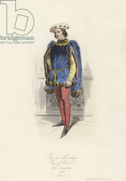 Jean de Montagu, Grand Master of France, reign of Charles VI (coloured engraving)