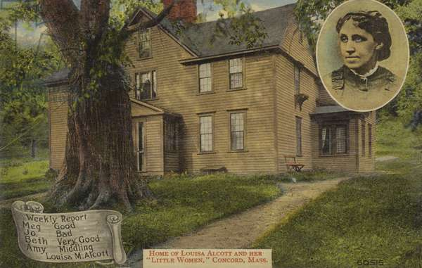 Home of Louisa M Alcott, and her Little Women, Concord, Massachusetts, USA (colour photo)