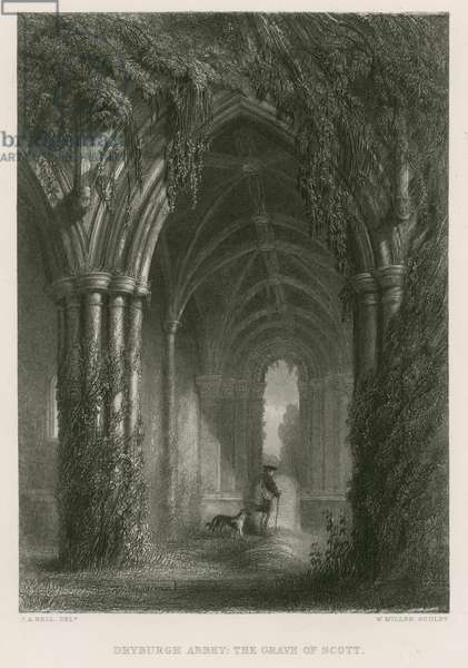 Dryburgh Abbey, The grave of Sir Walter Scott (engraving)