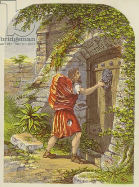 Christian at the Gate (colour litho)