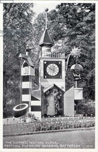 The Guinness Festival Clock, designed by Jan le Witt and George Him for the Festival of Britain, Battersea Festival Gardens, London, 1951 (b/w photo)