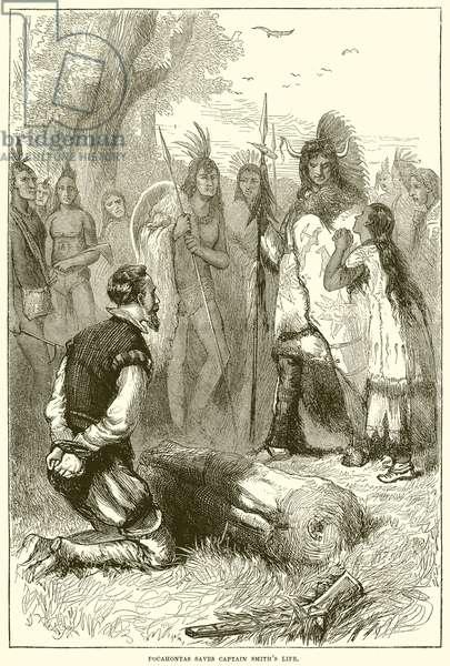 Pocahontas saves Captain Smith's Life (engraving)
