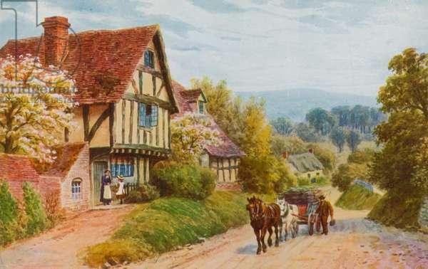 Cropthorne Hill near Evesham (colour litho)