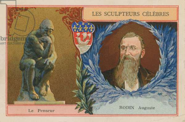 Auguste Rodin, French sculptor and his 'The Thinker' (chromolitho)
