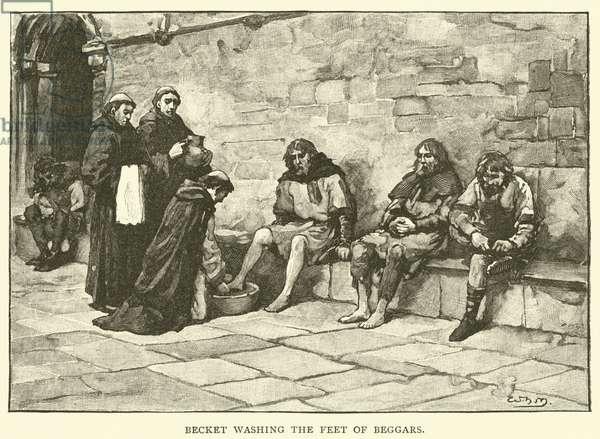 Becket washing the feet of beggars (engraving)