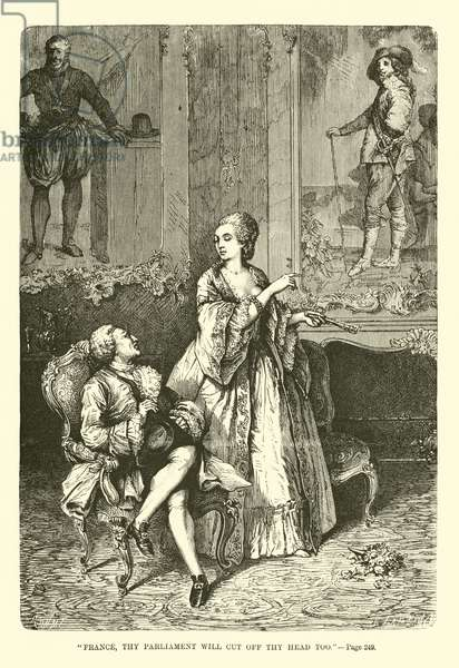 """""""France, thy parliament will cut off thy head too"""" (engraving)"""