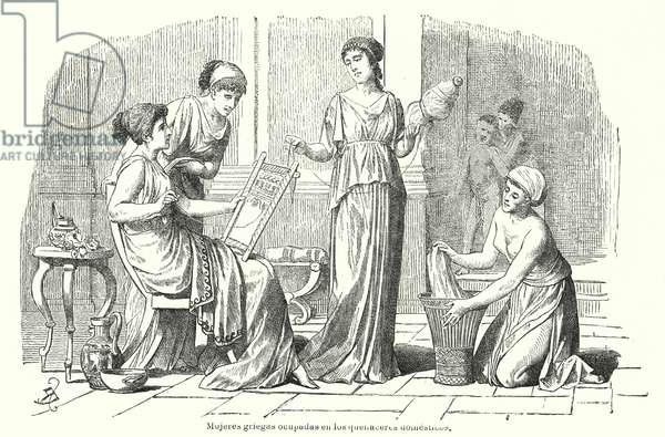 Women performing domestic chores in Ancient Greece (litho)