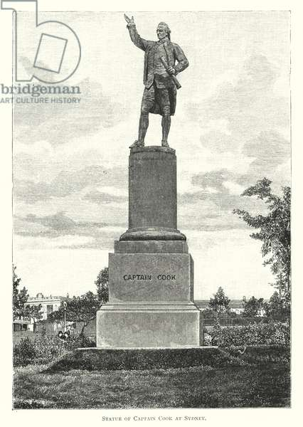 Australia: Statue of Captain Cook at Sydney (engraving)