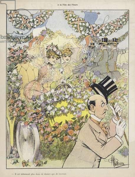 A la Fete des Fleurs (colour litho)