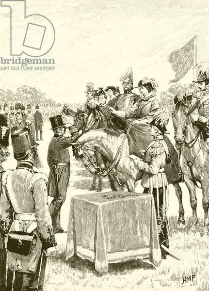 Queen Victoria presiding at the first distribution of the Victoria cross (engraving)