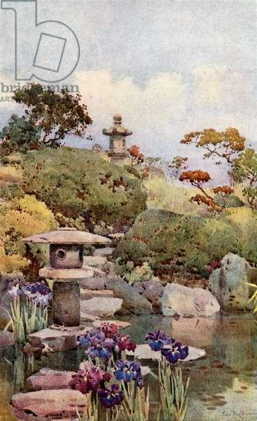 A Tokyo Garden (colour litho)