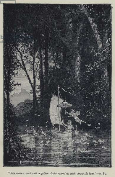 """""""Six swans, each with a golden circlet round its neck, drew the boat"""" (engraving)"""