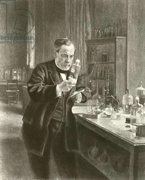 Dr Louis Pasteur in his laboratory (gravure)