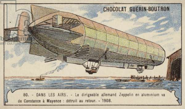 German Zeppelin airship LZ4 setting out on a flight from Lake Constance to Mainz, 1908 (chromolitho)