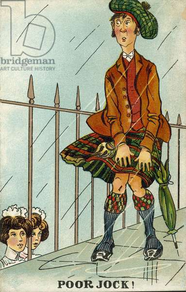 National stereotypes: a Scotsman struggling to keep his kilt down in the wind and rain (chromolitho)