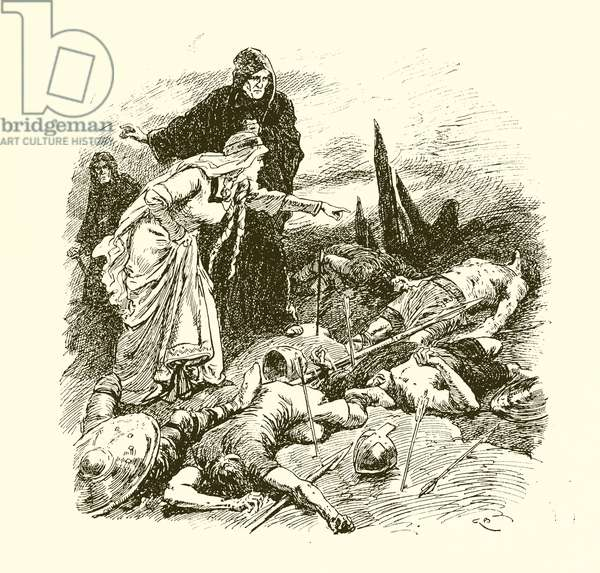 Queen Edith finding the body of Harold after the Battle of Hastings (engraving)