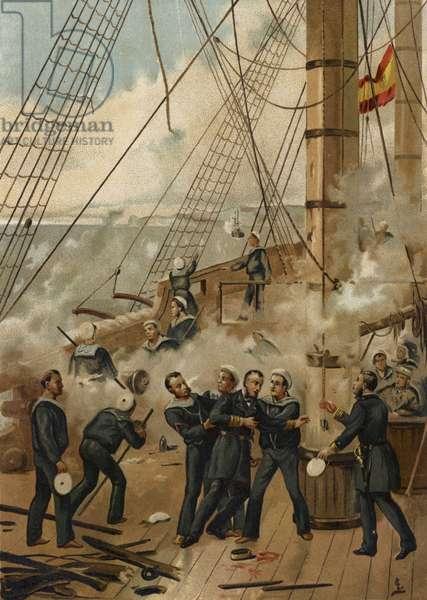 Battle of Callao, Peru, 1866 (chromolitho)