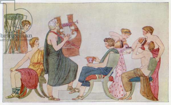 The Minstrel singing to the Suitors (colour litho)