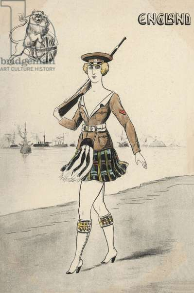 Girl in Scottish uniform (colour litho)