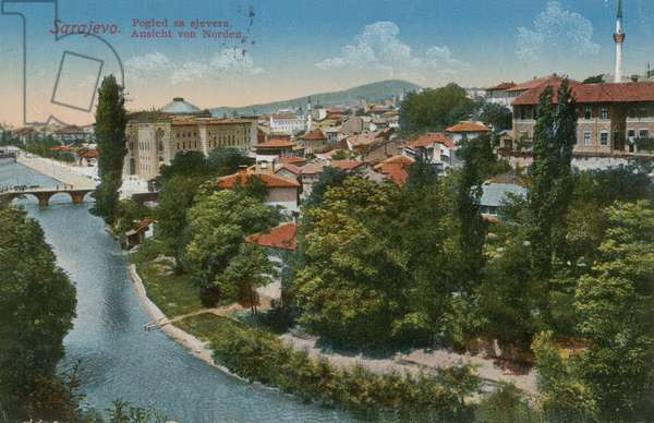 Sarajevo - view to the north of the city. Postcard sent in 1913.