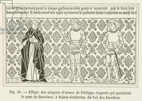Effigie des sergents d'armes de Philippe-Auguste qui gardaient le pont de Bouvines, a Sainte-Catherine du Val des Escoliers (engraving)