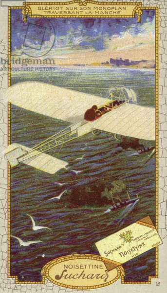 Louis Bleriot in his monoplane crossing the Emglish Channel, 1909 (chromolitho)