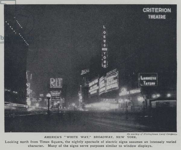 America's 'White Way', electric signs on Broadway, New York, at night (b/w photo)