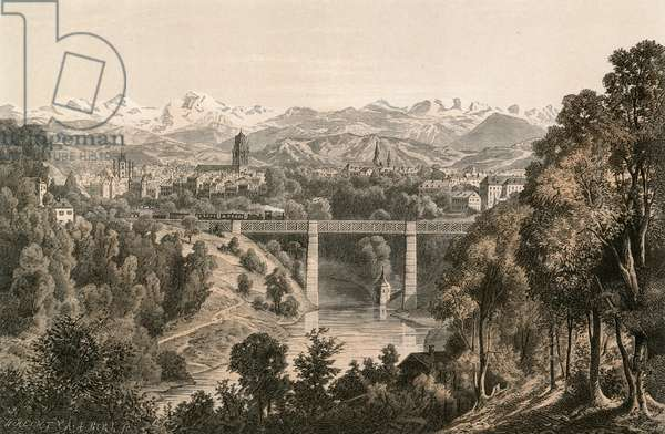 Berne and the Bernese Alps, from the Enge (engraving)
