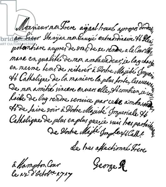 Letter from King George I to the Emperor Charles V (engraving)
