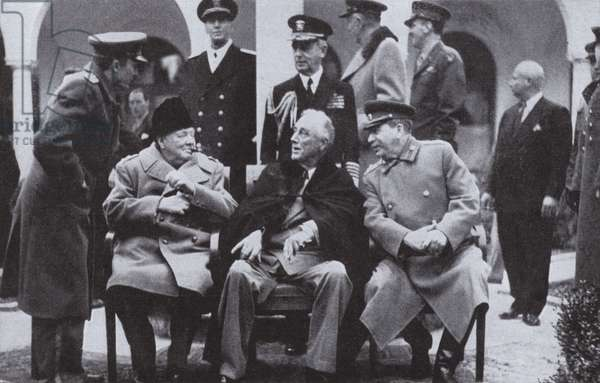 The Yalta Conference between Allied leaders Winston Churchill, Franklin D Roosevelt and Josef Stalin, 1945 (b/w photo)