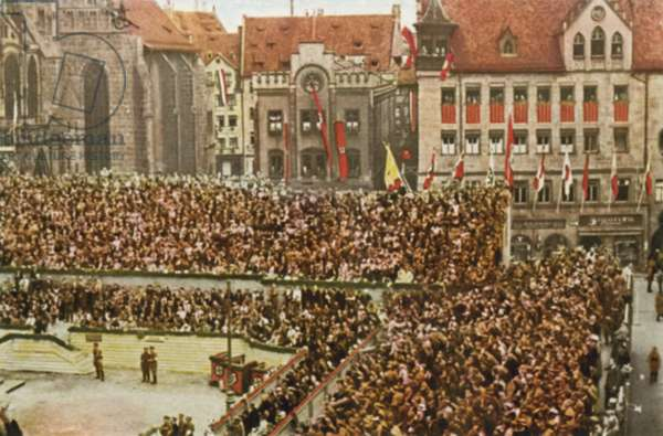 View of the tribune outside the Frauenkirche at the Nazi Party's Nuremberg Rally, Germany, 1933 (colour photo)