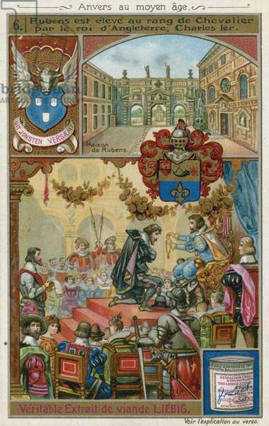 Peter Paul Rubens receiving a knighthood from King Charles I of England, 1630 (chromolitho)