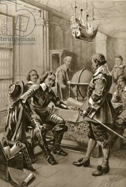 Robert Blake calls on Oliver Cromwell in the Council Room in Whitehall (litho)