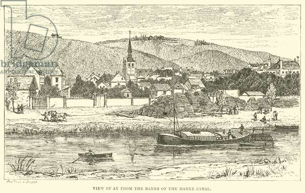 View of Ay from the Banks of the Marne Canal (engraving)