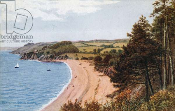 Blackpool Sands, from W, S Devon (colour litho)