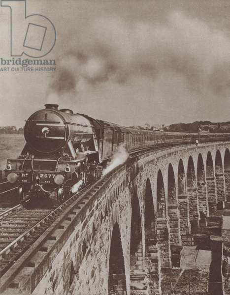 The Flying Scotsman hauling the LNER's non-stop service between London King's Cross and Newcastle-upon Tyne, 1927 (b/w photo)